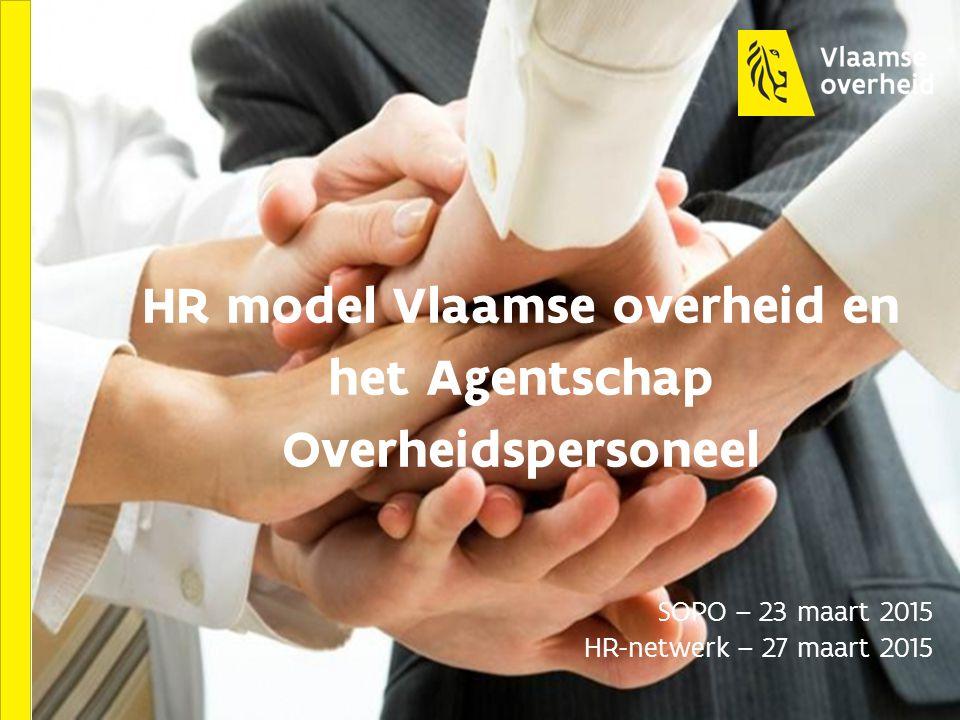 HR model Vlaamse overheid en het Agentschap Overheidspersoneel SOPO – 23 maart 2015 HR-netwerk – 27 maart 2015
