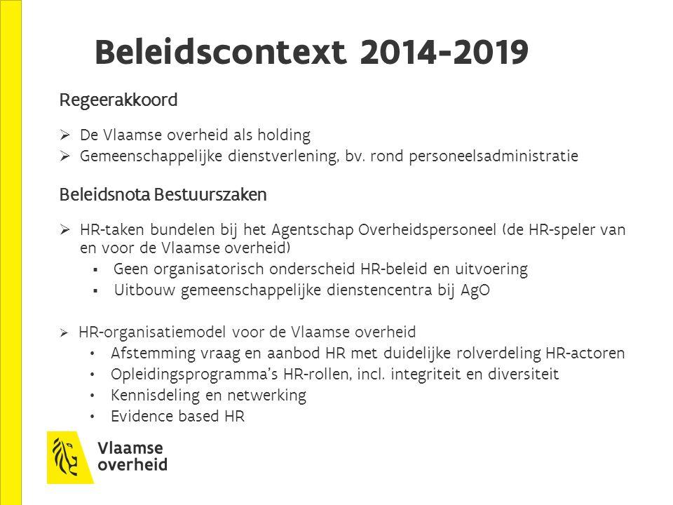 Beleidscontext 2014-2019 Regeerakkoord  De Vlaamse overheid als holding  Gemeenschappelijke dienstverlening, bv. rond personeelsadministratie Beleid
