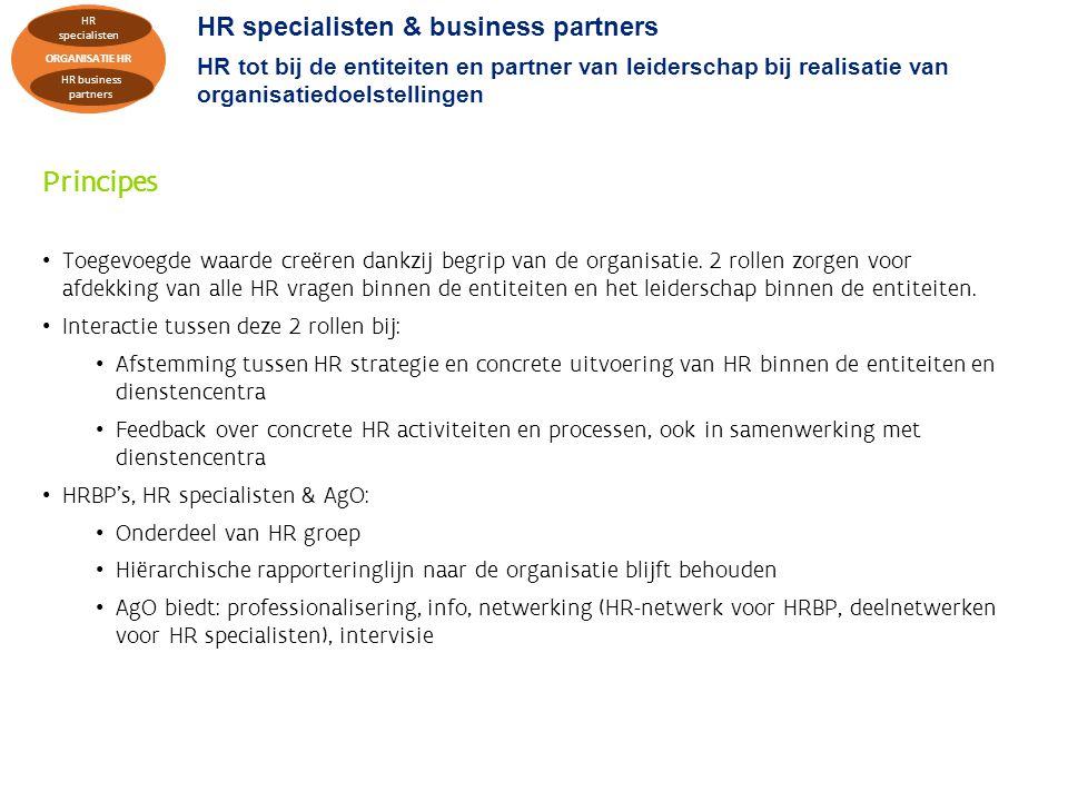 HR specialisten & business partners HR tot bij de entiteiten en partner van leiderschap bij realisatie van organisatiedoelstellingen Principes Toegevoegde waarde creëren dankzij begrip van de organisatie.