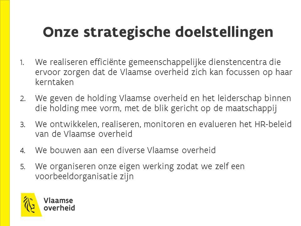 Onze strategische doelstellingen 1. We realiseren efficiënte gemeenschappelijke dienstencentra die ervoor zorgen dat de Vlaamse overheid zich kan focu