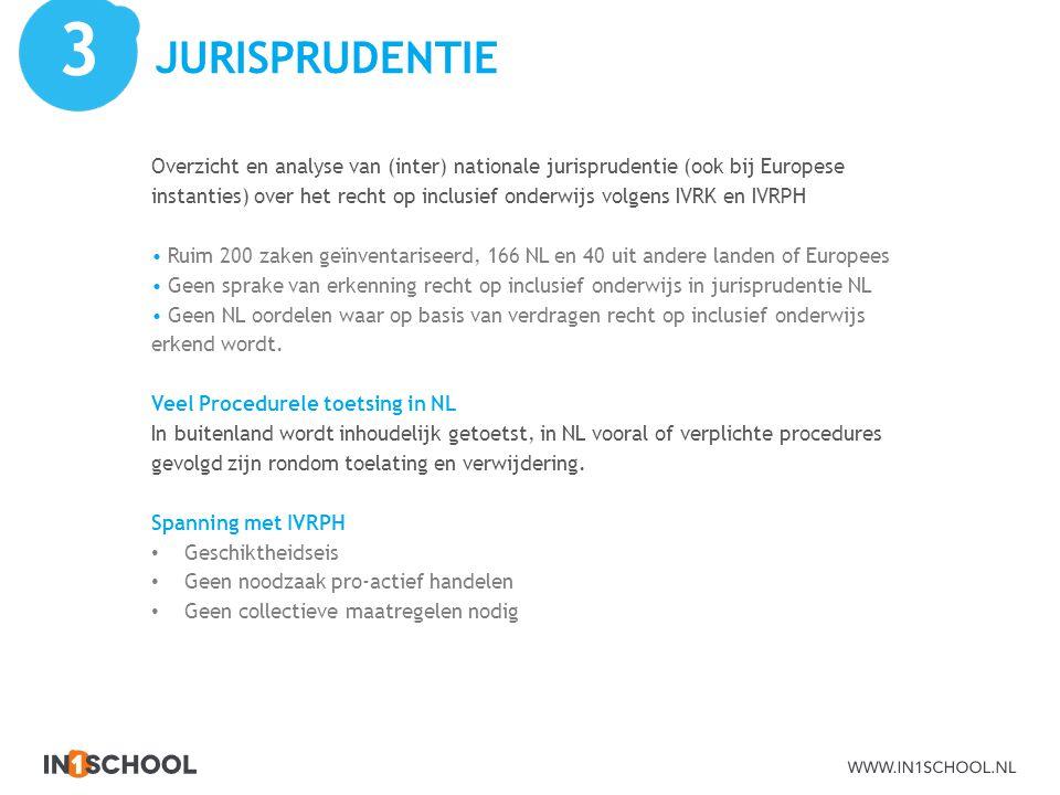 JURISPRUDENTIE Overzicht en analyse van (inter) nationale jurisprudentie (ook bij Europese instanties) over het recht op inclusief onderwijs volgens I