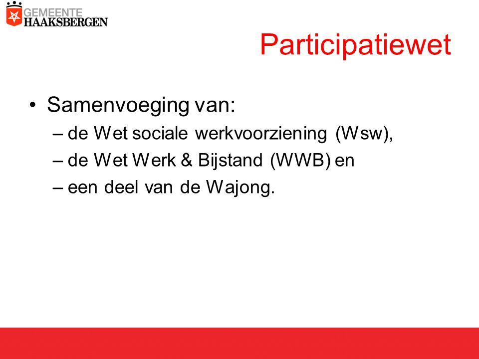 Samenvoeging van: –de Wet sociale werkvoorziening (Wsw), –de Wet Werk & Bijstand (WWB) en –een deel van de Wajong.