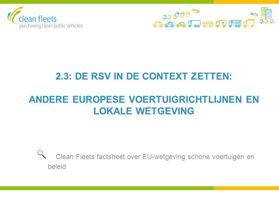 2.3: DE RSV IN DE CONTEXT ZETTEN: ANDERE EUROPESE VOERTUIGRICHTLIJNEN EN LOKALE WETGEVING.