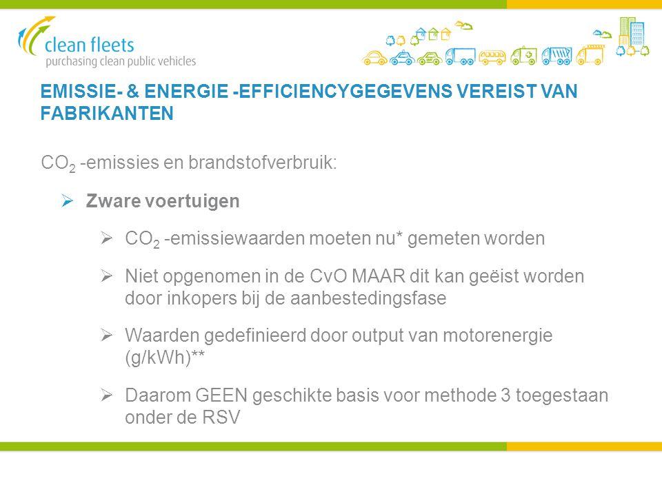 EMISSIE- & ENERGIE -EFFICIENCYGEGEVENS VEREIST VAN FABRIKANTEN CO 2 -emissies en brandstofverbruik:  Zware voertuigen  CO 2 -emissiewaarden moeten nu* gemeten worden  Niet opgenomen in de CvO MAAR dit kan geëist worden door inkopers bij de aanbestedingsfase  Waarden gedefinieerd door output van motorenergie (g/kWh)**  Daarom GEEN geschikte basis voor methode 3 toegestaan onder de RSV