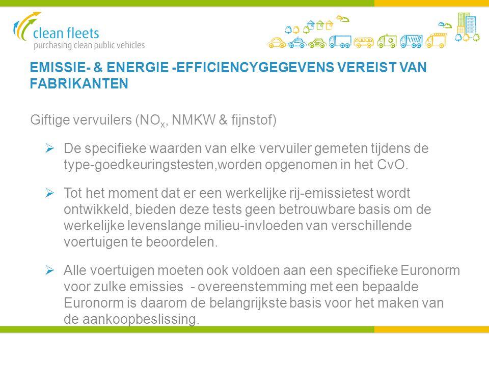 EMISSIE- & ENERGIE -EFFICIENCYGEGEVENS VEREIST VAN FABRIKANTEN Giftige vervuilers (NO x, NMKW & fijnstof)  De specifieke waarden van elke vervuiler gemeten tijdens de type-goedkeuringstesten,worden opgenomen in het CvO.