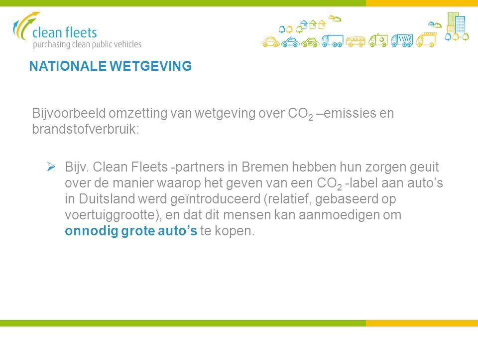 NATIONALE WETGEVING Bijvoorbeeld omzetting van wetgeving over CO 2 –emissies en brandstofverbruik:  Bijv.