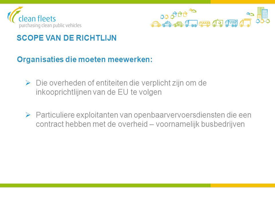 SCOPE VAN DE RICHTLIJN Organisaties die moeten meewerken:  Die overheden of entiteiten die verplicht zijn om de inkooprichtlijnen van de EU te volgen  Particuliere exploitanten van openbaarvervoersdiensten die een contract hebben met de overheid – voornamelijk busbedrijven