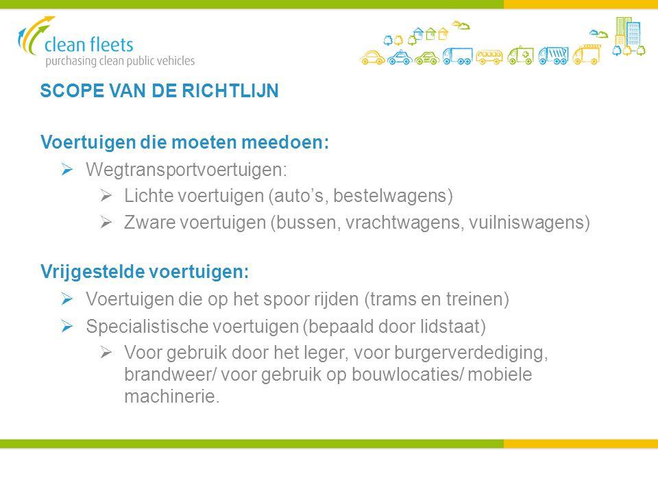 SCOPE VAN DE RICHTLIJN Voertuigen die moeten meedoen:  Wegtransportvoertuigen:  Lichte voertuigen (auto's, bestelwagens)  Zware voertuigen (bussen, vrachtwagens, vuilniswagens) Vrijgestelde voertuigen:  Voertuigen die op het spoor rijden (trams en treinen)  Specialistische voertuigen (bepaald door lidstaat)  Voor gebruik door het leger, voor burgerverdediging, brandweer/ voor gebruik op bouwlocaties/ mobiele machinerie.