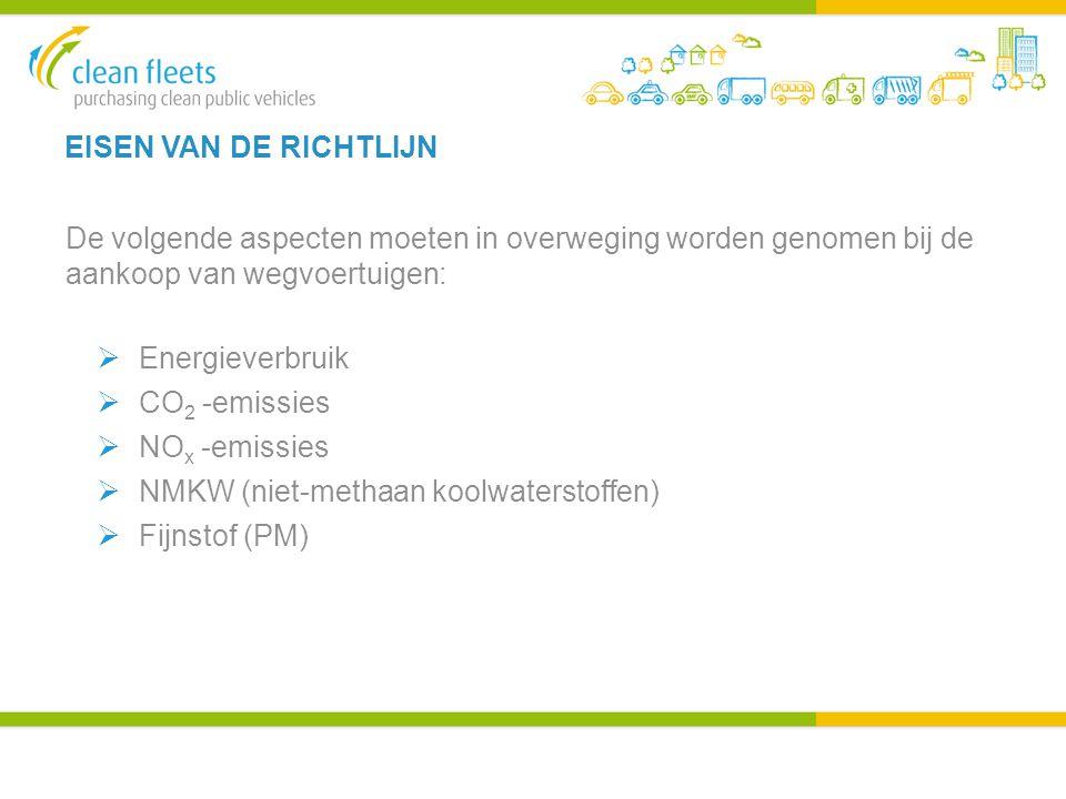 EISEN VAN DE RICHTLIJN De volgende aspecten moeten in overweging worden genomen bij de aankoop van wegvoertuigen:  Energieverbruik  CO 2 -emissies  NO x -emissies  NMKW (niet-methaan koolwaterstoffen)  Fijnstof (PM)