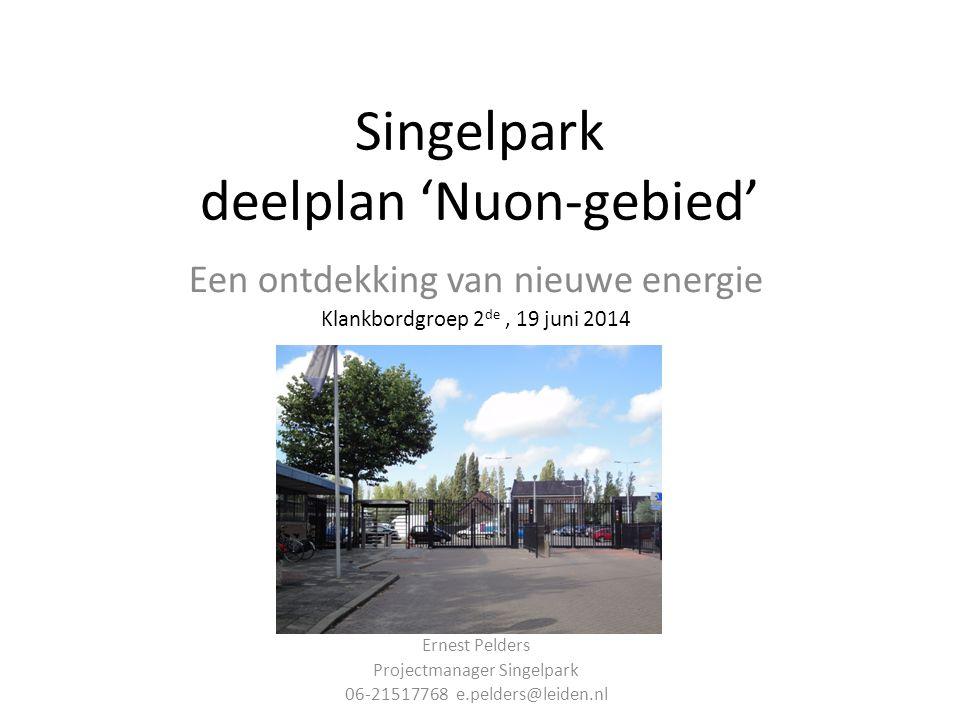 Singelpark deelplan 'Nuon-gebied' Een ontdekking van nieuwe energie Klankbordgroep 2 de, 19 juni 2014 Ernest Pelders Projectmanager Singelpark 06-21517768 e.pelders@leiden.nl