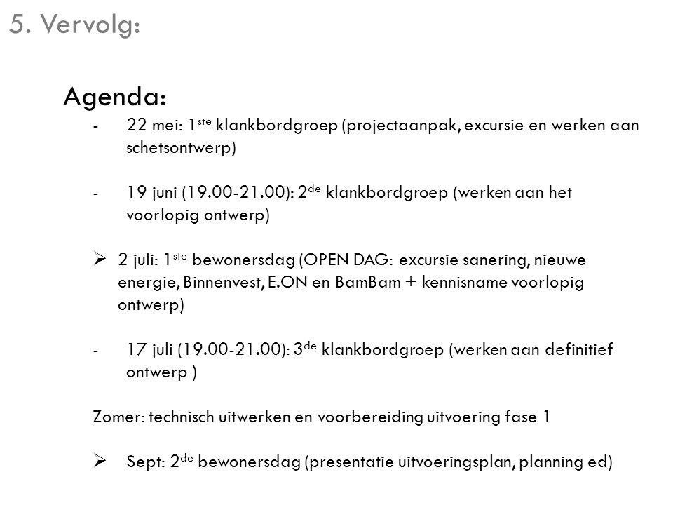 5. Vervolg: Agenda: -22 mei: 1 ste klankbordgroep (projectaanpak, excursie en werken aan schetsontwerp) -19 juni (19.00-21.00): 2 de klankbordgroep (w