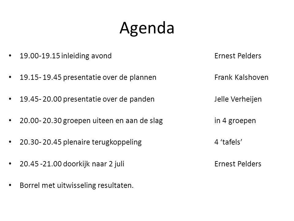 Agenda 19.00-19.15 inleiding avondErnest Pelders 19.15- 19.45 presentatie over de plannenFrank Kalshoven 19.45- 20.00 presentatie over de pandenJelle Verheijen 20.00- 20.30 groepen uiteen en aan de slagin 4 groepen 20.30- 20.45 plenaire terugkoppeling4 'tafels' 20.45 -21.00 doorkijk naar 2 juliErnest Pelders Borrel met uitwisseling resultaten.