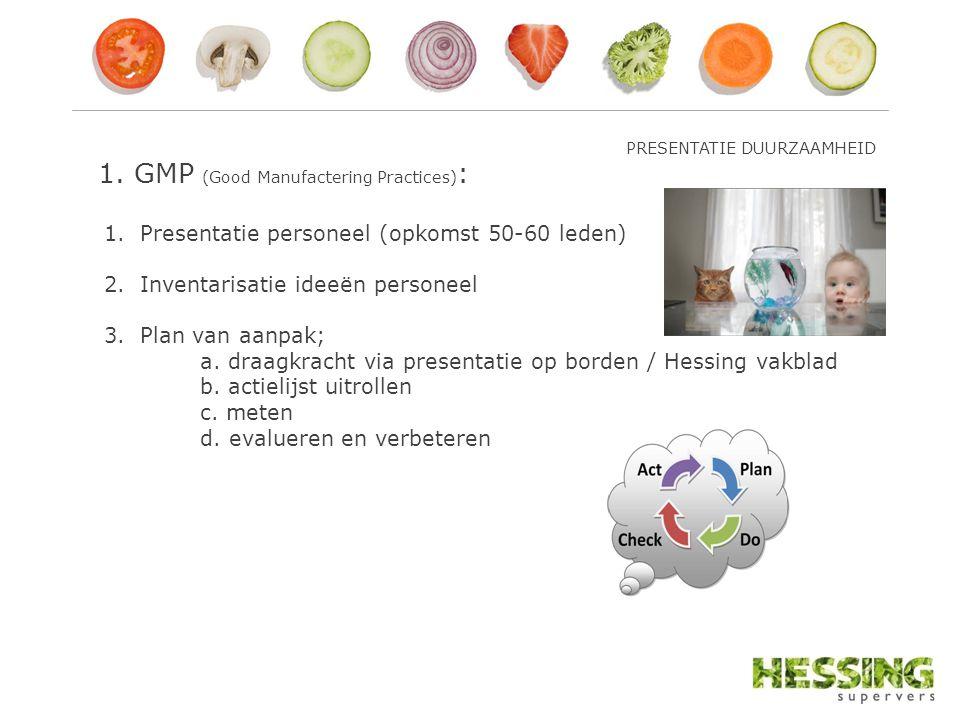 1. GMP (Good Manufactering Practices) : 1.Presentatie personeel (opkomst 50-60 leden) 2.Inventarisatie ideeën personeel 3.Plan van aanpak; a. draagkra