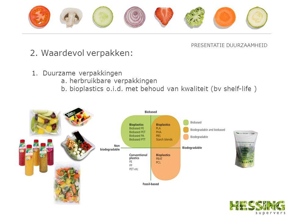 2. Waardevol verpakken: 1.Duurzame verpakkingen a. herbruikbare verpakkingen b. bioplastics o.i.d. met behoud van kwaliteit (bv shelf-life ) PRESENTAT