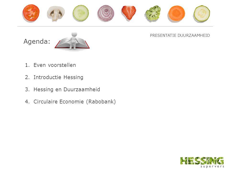 Agenda: 1.Even voorstellen 2.Introductie Hessing 3.Hessing en Duurzaamheid 4.Circulaire Economie (Rabobank) PRESENTATIE DUURZAAMHEID