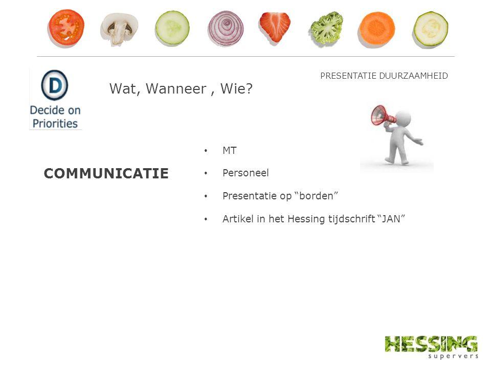 COMMUNICATIE MT Personeel Presentatie op borden Artikel in het Hessing tijdschrift JAN PRESENTATIE DUURZAAMHEID