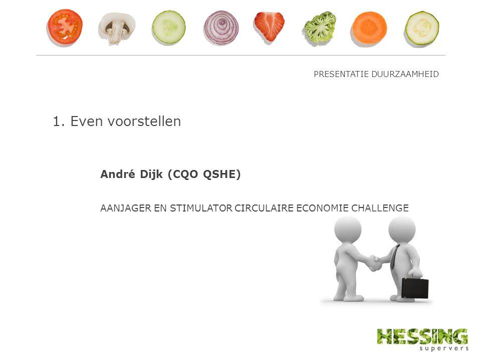 1.Even voorstellen André Dijk (CQO QSHE) AANJAGER EN STIMULATOR CIRCULAIRE ECONOMIE CHALLENGE
