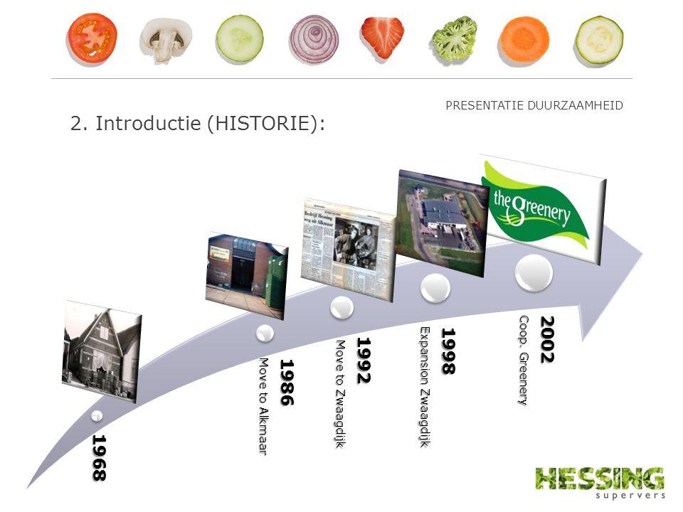 2. Introductie (HISTORIE):1968 1986 Move to Alkmaar 1992 Move to Zwaagdijk Move to Zwaagdijk 1998 Expansion Zwaagdijk 2002 Coop. Greenery PRESENTATIE