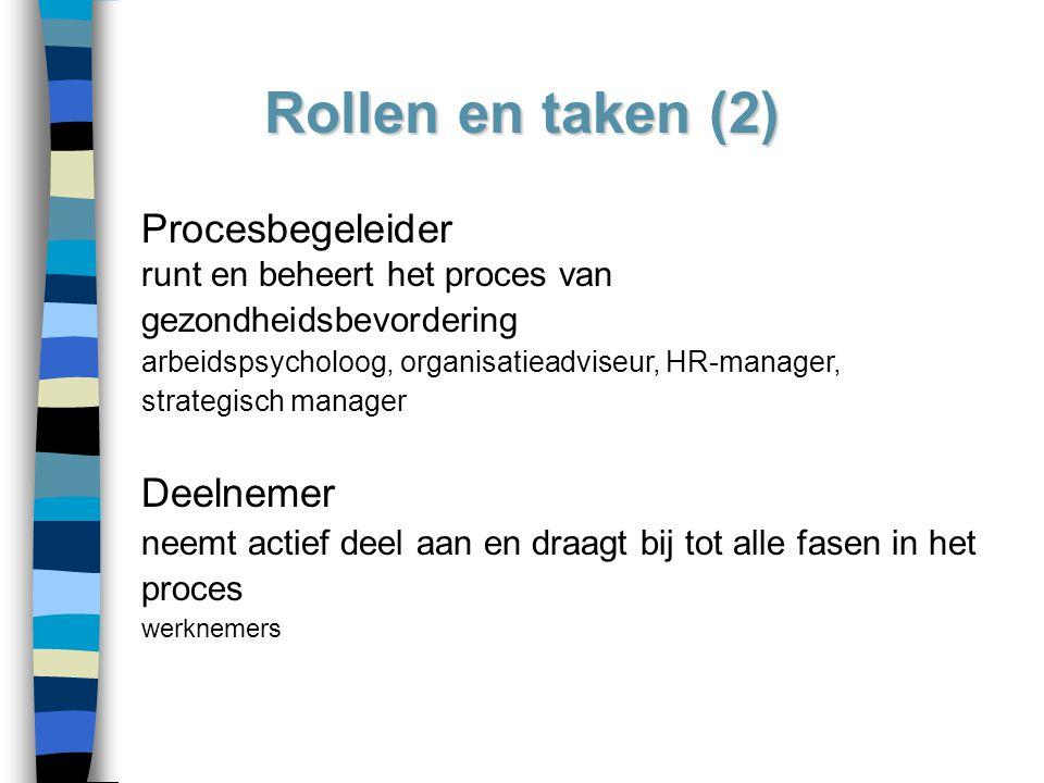 Rollen en taken (2) Procesbegeleider runt en beheert het proces van gezondheidsbevordering arbeidspsycholoog, organisatieadviseur, HR-manager, strateg