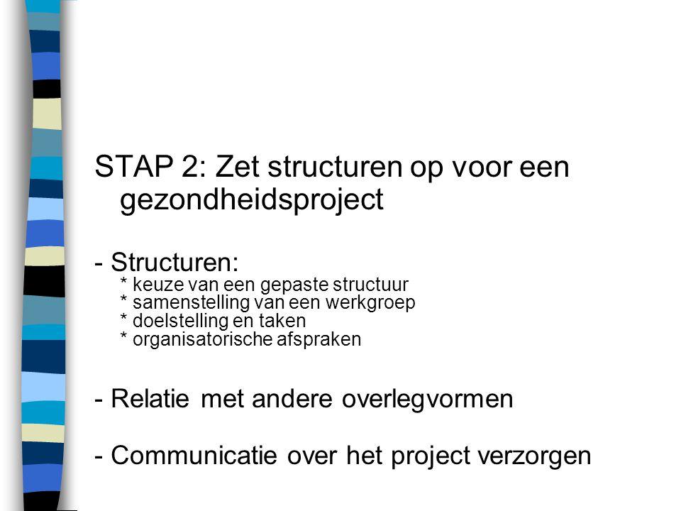 STAP 2: Zet structuren op voor een gezondheidsproject - Structuren: * keuze van een gepaste structuur * samenstelling van een werkgroep * doelstelling