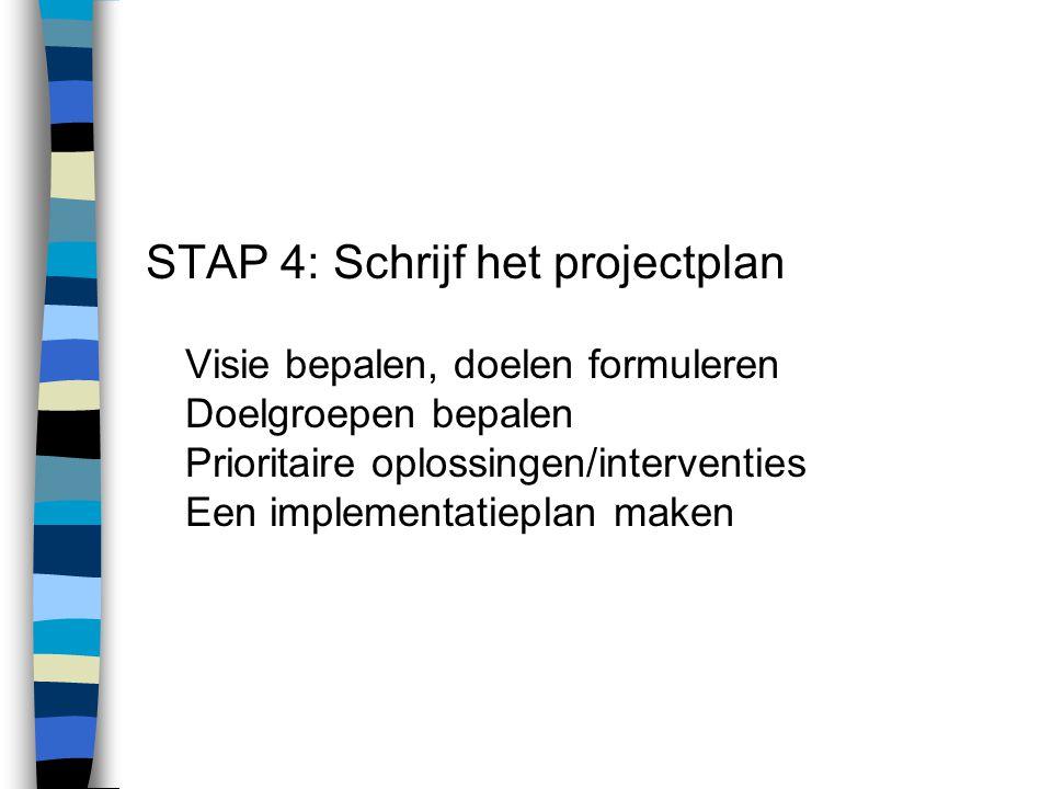 STAP 5: Voer het projectplan uit Plan de activiteiten Projectelementen * Oriëntatie * Motiveren van niet-deelnemers * Informeren van medewerkers * Motivatie en beloning