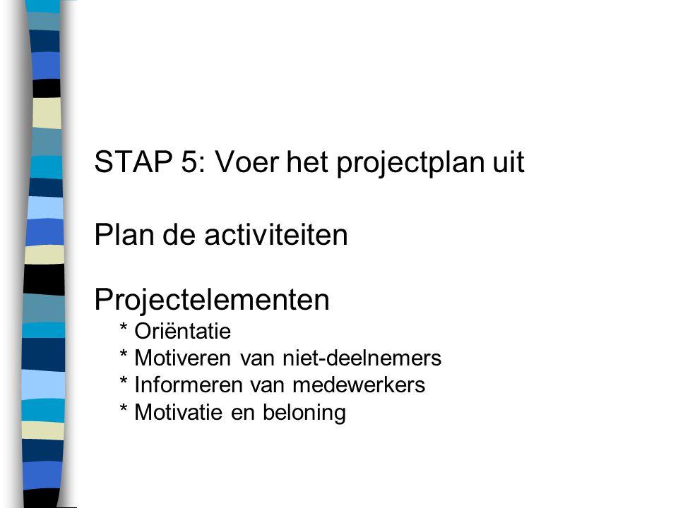 STAP 5: Voer het projectplan uit Plan de activiteiten Projectelementen * Oriëntatie * Motiveren van niet-deelnemers * Informeren van medewerkers * Mot