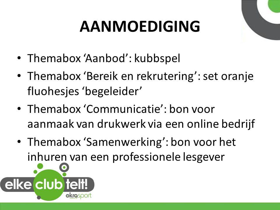 AANMOEDIGING Themabox 'Aanbod': kubbspel Themabox 'Bereik en rekrutering': set oranje fluohesjes 'begeleider' Themabox 'Communicatie': bon voor aanmaa