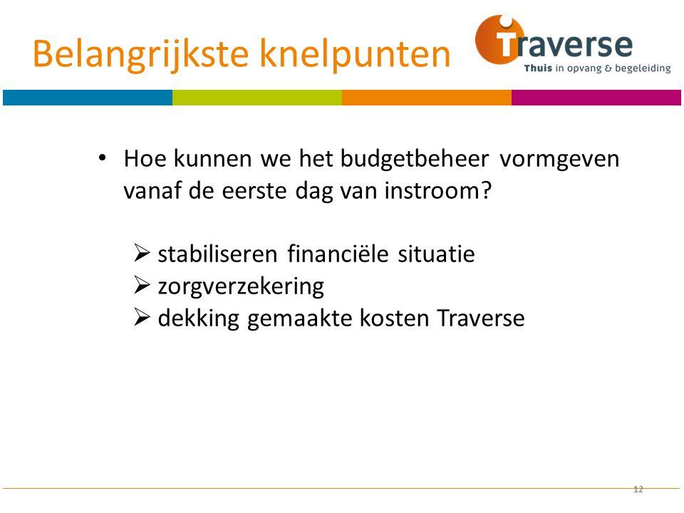 12 Hoe kunnen we het budgetbeheer vormgeven vanaf de eerste dag van instroom?  stabiliseren financiële situatie  zorgverzekering  dekking gemaakte