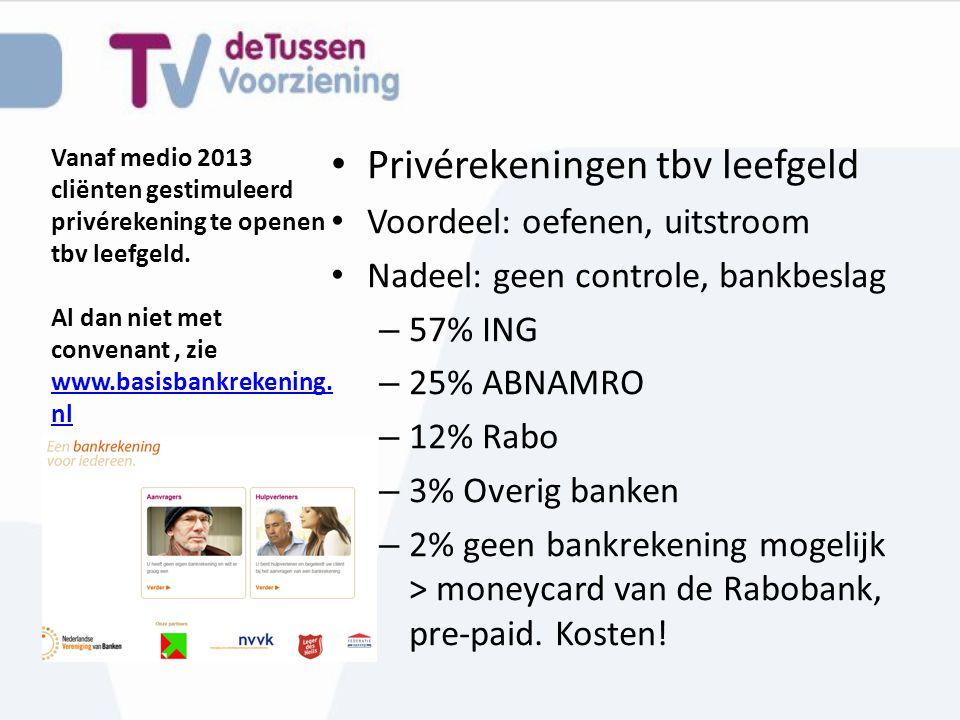 Vanaf medio 2013 cliënten gestimuleerd privérekening te openen tbv leefgeld. Al dan niet met convenant, zie www.basisbankrekening. nl www.basisbankrek
