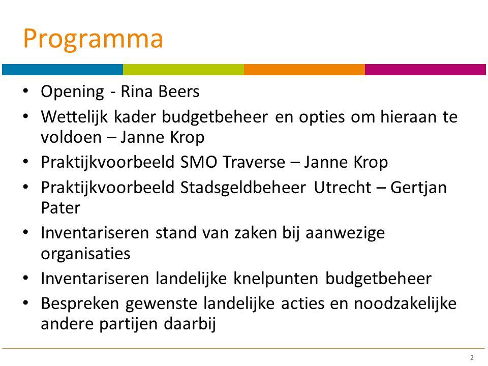 Stadsgeldbeheer Utrecht 13 Budgetbeheer beheer van één of meerdere rekeningen op naam van de klant AFM vergunning beheer van één of meerdere rekeningen op naam van de instelling Ontheffing Zelf aanvragen Via een branchevereniging NVVKBPBI