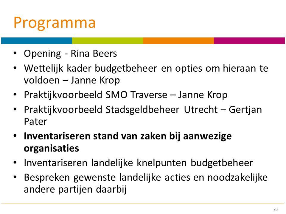 Programma Opening - Rina Beers Wettelijk kader budgetbeheer en opties om hieraan te voldoen – Janne Krop Praktijkvoorbeeld SMO Traverse – Janne Krop P