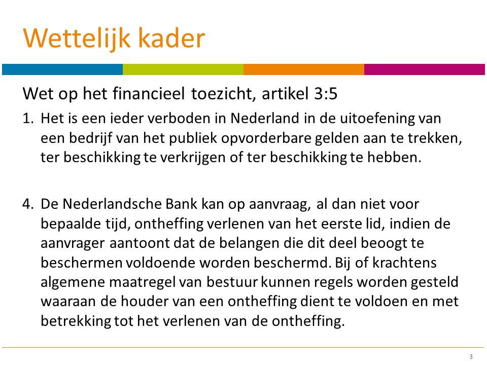 Wettelijk kader Wet op het financieel toezicht, artikel 3:5 1.Het is een ieder verboden in Nederland in de uitoefening van een bedrijf van het publiek