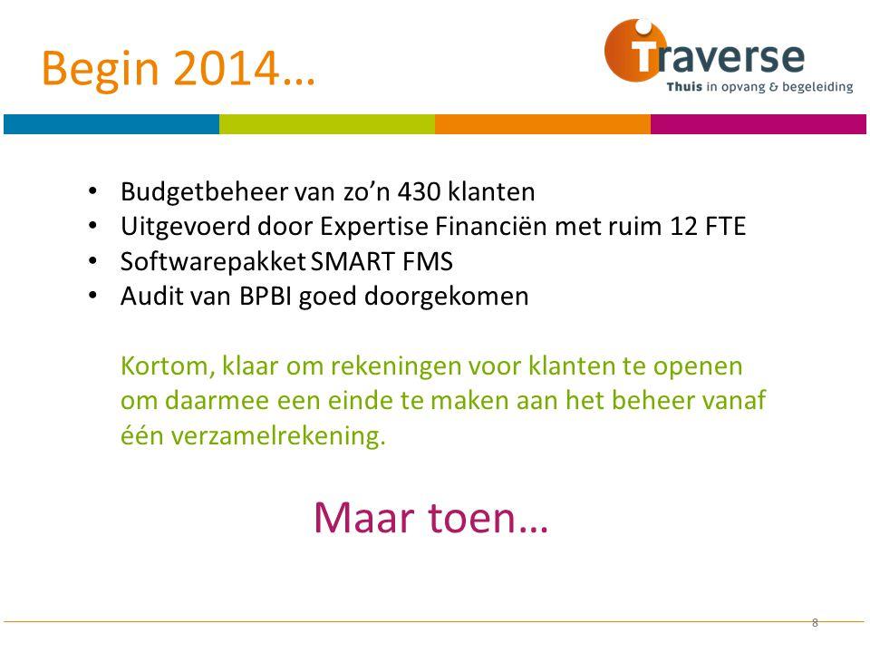 8 Budgetbeheer van zo'n 430 klanten Uitgevoerd door Expertise Financiën met ruim 12 FTE Softwarepakket SMART FMS Audit van BPBI goed doorgekomen Korto