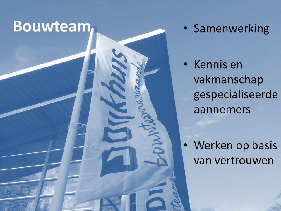 Bouwteam Samenwerking Kennis en vakmanschap gespecialiseerde aannemers Werken op basis van vertrouwen