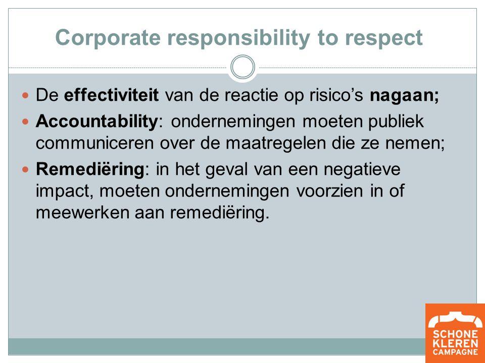 Corporate responsibility to respect De effectiviteit van de reactie op risico's nagaan; Accountability: ondernemingen moeten publiek communiceren over