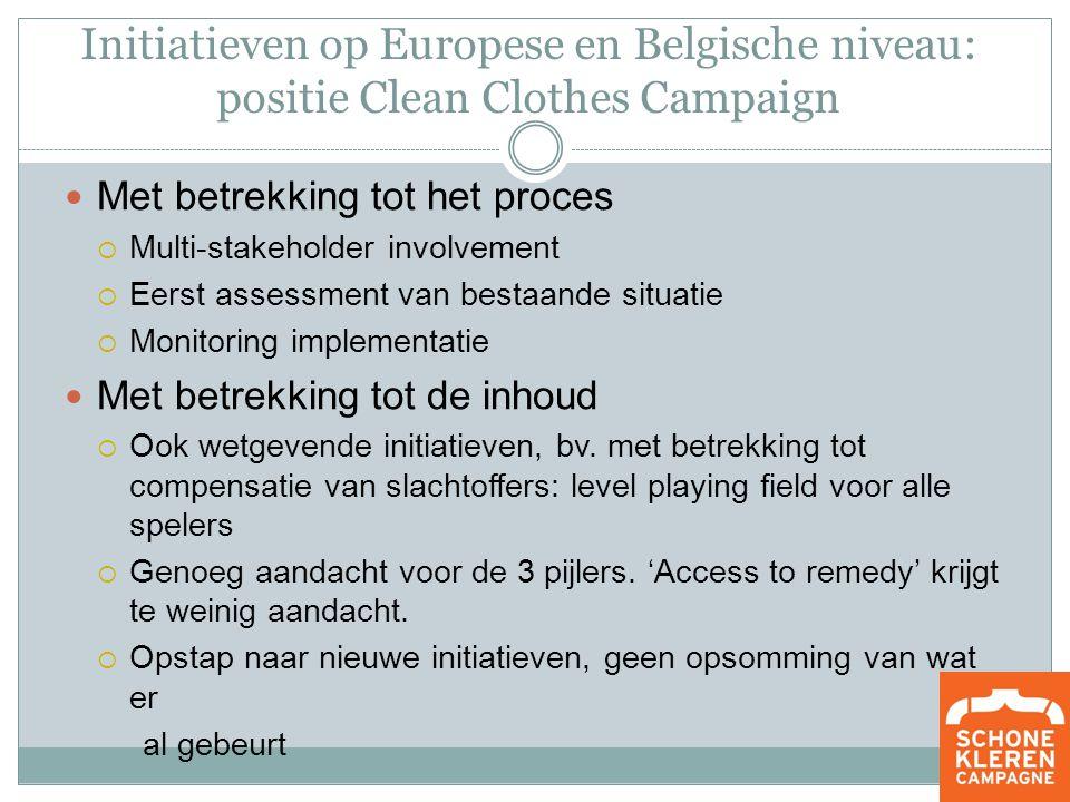 Initiatieven op Europese en Belgische niveau: positie Clean Clothes Campaign Met betrekking tot het proces  Multi-stakeholder involvement  Eerst assessment van bestaande situatie  Monitoring implementatie Met betrekking tot de inhoud  Ook wetgevende initiatieven, bv.