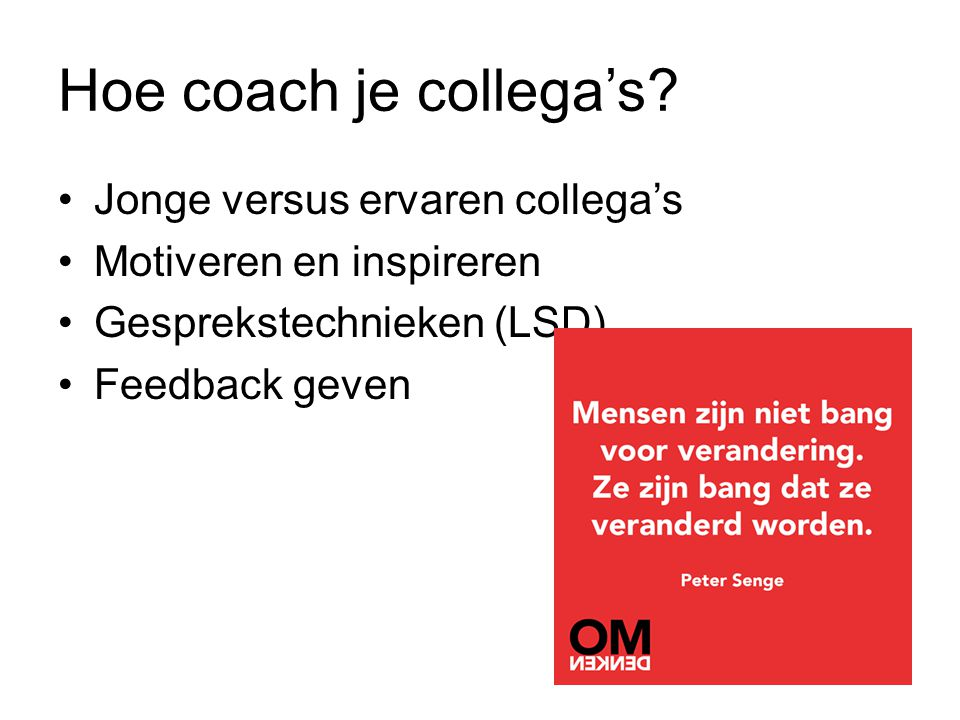 Hoe coach je collega's.