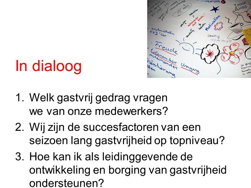 In dialoog 1.Welk gastvrij gedrag vragen we van onze medewerkers.