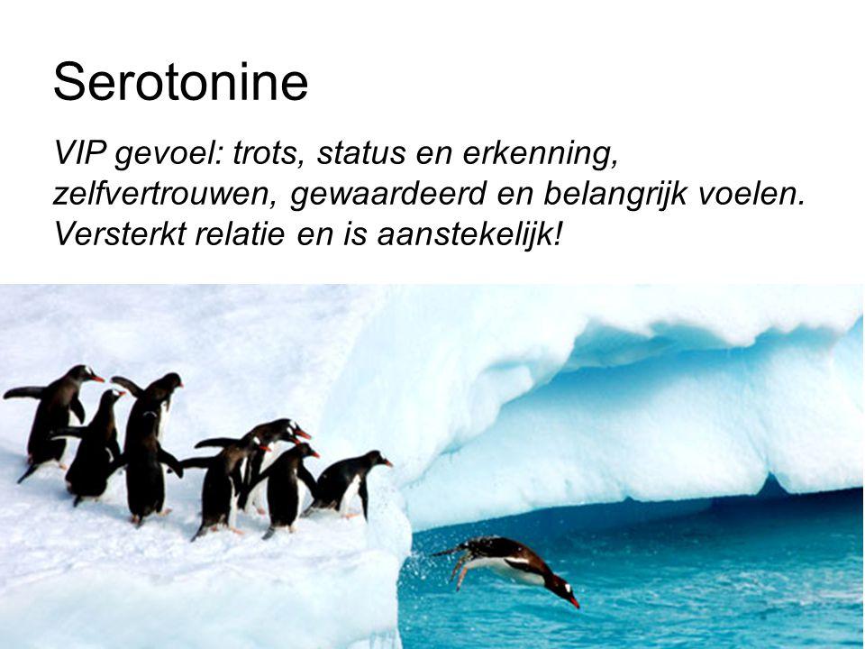 Serotonine VIP gevoel: trots, status en erkenning, zelfvertrouwen, gewaardeerd en belangrijk voelen. Versterkt relatie en is aanstekelijk!