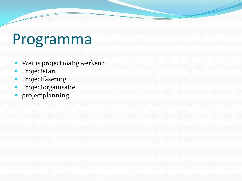 Programma Wat is projectmatig werken? Projectstart Projectfasering Projectorganisatie projectplanning