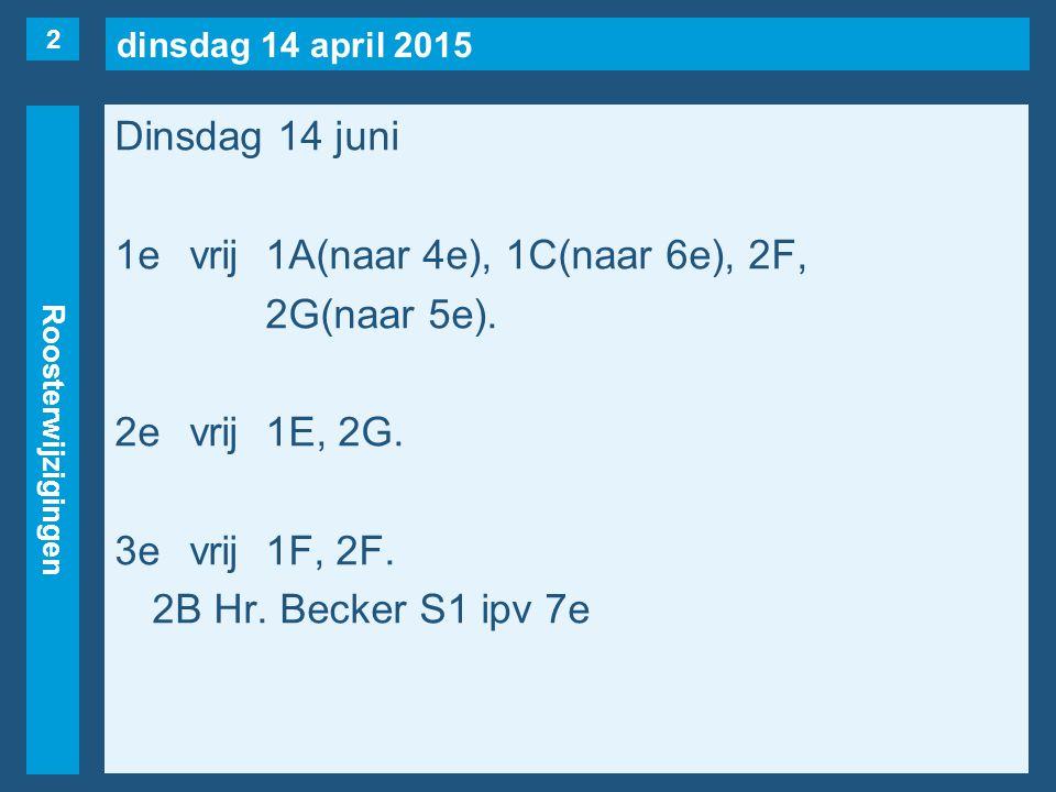 dinsdag 14 april 2015 Roosterwijzigingen Dinsdag 14 juni 1evrij1A(naar 4e), 1C(naar 6e), 2F, 2G(naar 5e). 2evrij1E, 2G. 3evrij1F, 2F. 2B Hr. Becker S1