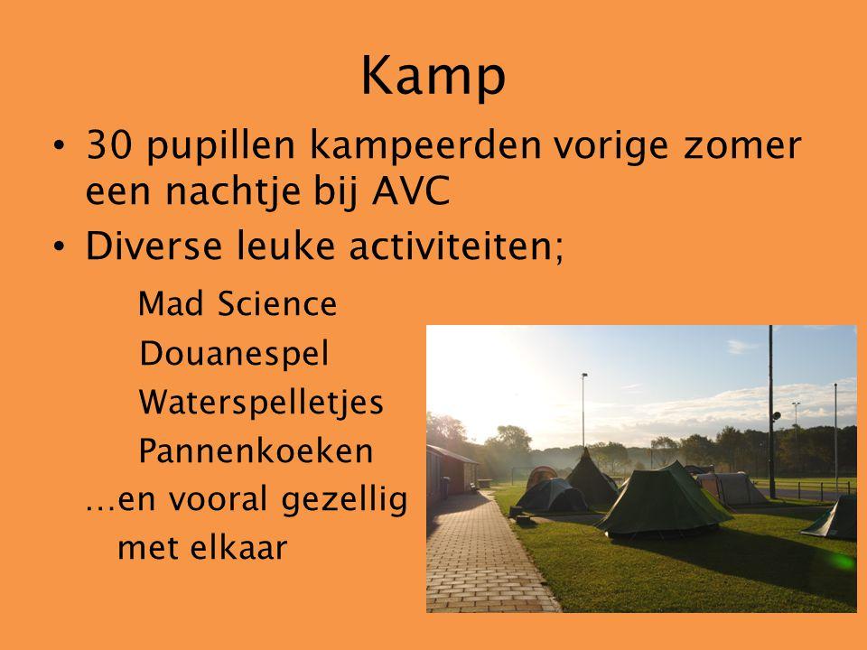Kamp 30 pupillen kampeerden vorige zomer een nachtje bij AVC Diverse leuke activiteiten; Mad Science Douanespel Waterspelletjes Pannenkoeken …en voora