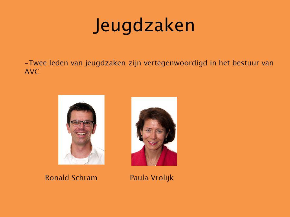 Jeugdzaken -Twee leden van jeugdzaken zijn vertegenwoordigd in het bestuur van AVC Ronald Schram Paula Vrolijk