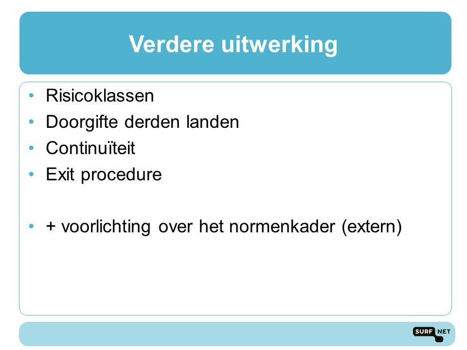 Verdere uitwerking Risicoklassen Doorgifte derden landen Continuïteit Exit procedure + voorlichting over het normenkader (extern)