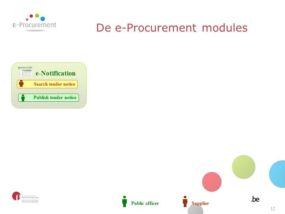 Public officerSupplier Publish tender notice e-Notification Search tender notice De e-Procurement modules 12