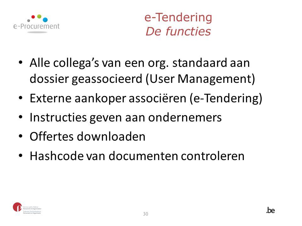 e-Tendering De functies Alle collega's van een org. standaard aan dossier geassocieerd (User Management) Externe aankoper associëren (e-Tendering) Ins