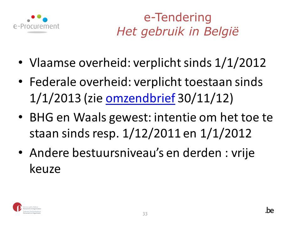e-Tendering Het gebruik in België Vlaamse overheid: verplicht sinds 1/1/2012 Federale overheid: verplicht toestaan sinds 1/1/2013 (zie omzendbrief 30/