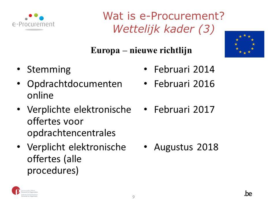 Wat is e-Procurement? Wettelijk kader (3) Stemming Opdrachtdocumenten online Verplichte elektronische offertes voor opdrachtencentrales Verplicht elek
