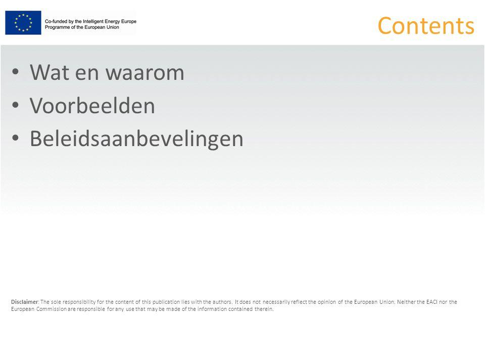 Beleidsaanbeveling 1 Erkenning minister en Vlaamse overheid van: EPC als best practice EPC = juridisch OK