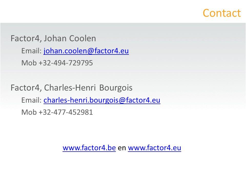 Contact Factor4, Johan Coolen Email: johan.coolen@factor4.eujohan.coolen@factor4.eu Mob +32-494-729795 Factor4, Charles-Henri Bourgois Email: charles-henri.bourgois@factor4.eucharles-henri.bourgois@factor4.eu Mob +32-477-452981 www.factor4.bewww.factor4.be en www.factor4.euwww.factor4.eu